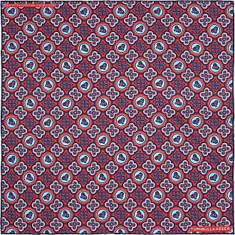 Red and Pink Glory Motif Print Silk Pocket Square Turnbull & Asser 6Mqwl
