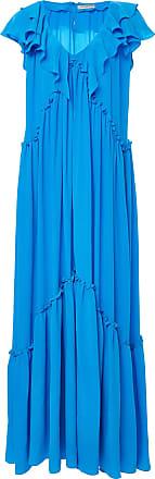 Wilhelmina Ruffled Silk Crepe de Chine Maxi Dress Three Graces London ZclGkdc