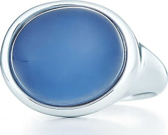 Elsa Peretti Cabochon ring in silver with a blue chalcedony - Size 5 Tiffany & Co. HbMYR