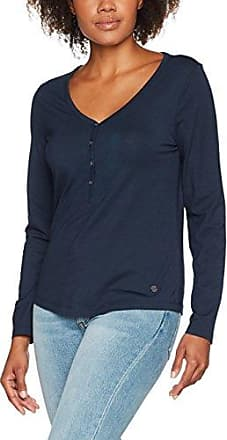 Tom Tailor Lovely crincle blousehirt, Camisa Manga Larga Mujer, Azul (Real Navy Blue), 36 (Talla del Fabricante: Small)