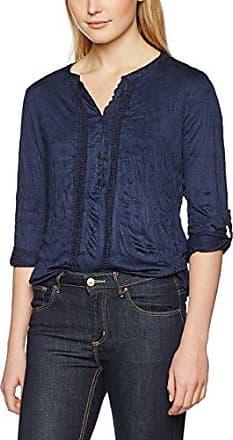 Tom Tailor Lovely crincle blousehirt, Camisa Manga Larga Mujer, Azul (Real Navy Blue), 36 (Talla del Fabricante: Small)