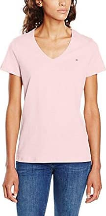 Tommy Hilfiger Lark V-NK Top SS, Polo para Mujer, Rosa (Classic White/Chambray Blue), Small