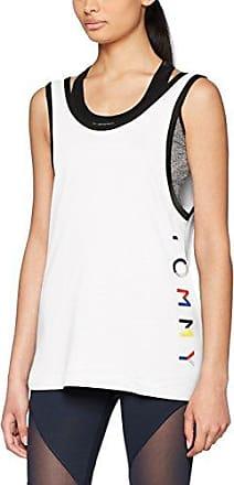 Tommy Hilfiger TH ATH Crop Top, Camiseta sin Mangas para Mujer, Blanco (Classic White 100), 38 (Talla del Fabricante: Small)