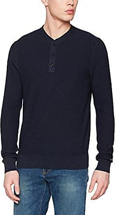 Tommy Hilfiger Striped Long Sleeve Slim Henley, T-Shirt à Manches Longues Homme, (Sky Captain 403), Medium