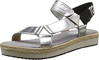 Hilfiger Denim Damen Metallic Flat Thong Sandal T-Spangen, Silber (Silver 000), 39 EU