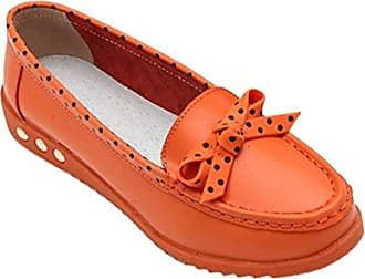 Leder mit Mustern Plateau Keilabsatz Loafers Slipper Freizeitschuhe (EU 36=ASIA 37, Hell Blau) Cystyle