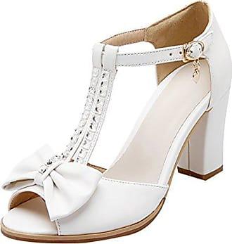 Damen Peep Toe T-Strap Blockabsatz High Heels Knöchelriemchen Sandalen mit Schleife und Strass Schnale Schuhe UH AVsUr704