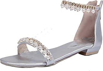 UH Damen Riemchen Sandalen Flach Offen Sandaletten mit Perlen und Reißverschluss Bequeme Sommer Strand Schuhe fWqa3i