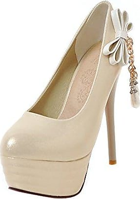 SHOWHOW Damen Runde High Heels Low Top Pumps mit Knöchelriemchen Beige 40 EU umfjwC