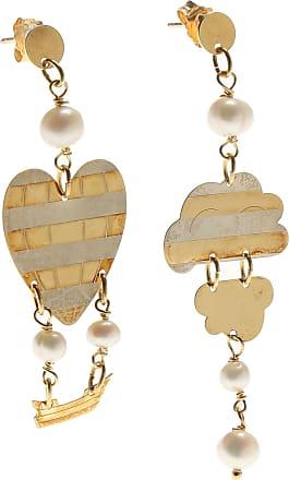 Earrings for Women, Gold, Silk, 2017, One Size Uomolebole