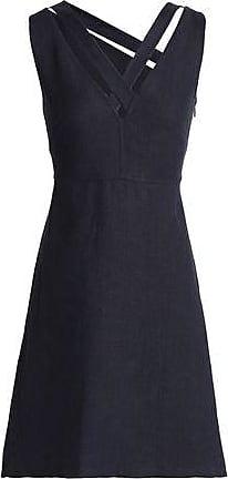Valentino Woman Flared Cutout Linen Dress Midnight Blue Size 42 Valentino oRN4ip7Qhz