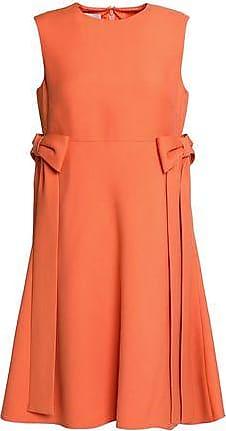 Valentino Woman Bow-embellished Wool And Silk-blend Mini Dress Orange Size 40 Valentino High Quality Cheap Online MkbUdQTYEe