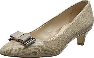 2402 - Zapatos de Tacón con Punta Cerrada de Cuero Mujer, Color Beige, Talla 38 Van Dal