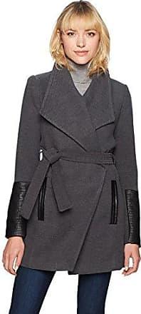 Vero Moda Vmcala 3/4 Jacket Noos, Abrigo para Mujer, Gris (Light Grey Melange Detail:Black PU), 38 (Talla del Fabricante: Medium)
