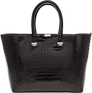Victoria Beckham Printed Croc Quincy Tote in Brown,Animal Print