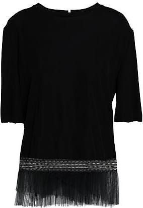 Vionnet Woman Asymmetric Lace-trimmed Two-tone Georgette And Silk-satin Top Black Size 38 Vionnet Cheap Price Outlet Sale 2018 Unisex Cheap Online All Size Looking For Sale Online K62zsHciV