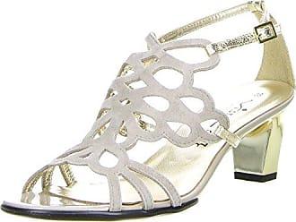 Damen Sandaletten Platin/Gold, Größe:40, Farbe:Gold Vista