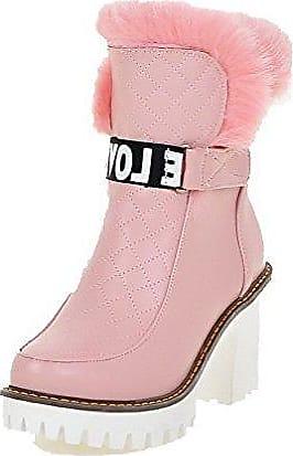 VogueZone009 Damen Mittler Absatz Gemischte Farbe Blend-Materialien Ziehen auf Stiefel, Cremefarben, 32