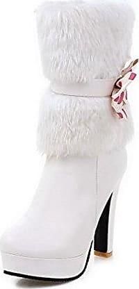 AgooLar Damen Rund Zehe Hoher Absatz Weiches Material Niedrig-Spitze Eingelegt Stiefel, Weiß, 35
