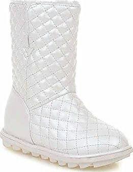 AgooLar Damen Rein Mittler Absatz Rund Zehe Ziehen auf Stiefel, Weiß, 36
