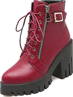 AgooLar Damen Wasserdicht Plattform PU Reißverschluss Rund Zehe Stiefel, Aprikosen Farbe, 43