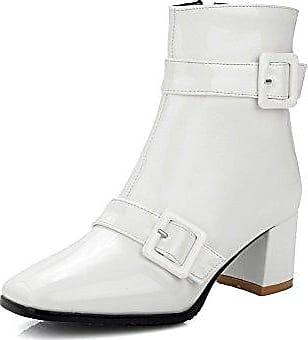 AgooLar Damen Mittler Absatz Rein Quadratisch Zehe Stiefel mit Beschlagene Strass, Cremefarben, 39