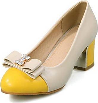 Damen PU Leder Ziehen auf Spitz Zehe Gemischte Farbe Pumps Schuhe, Weiß, 37 VogueZone009