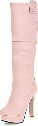 AgooLar Damen Ziehen auf Hoher Absatz Rein Knöchel Hohe Stiefel, Pink, 37