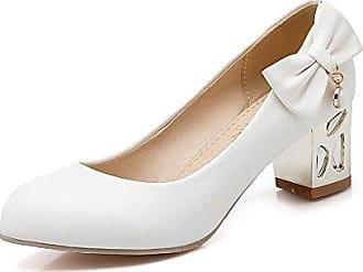 Damen Mittler Blend-Materialien Rein Ziehen auf Quadratisch Zehe Pumps Schuhe, Grau, 42 VogueZone009