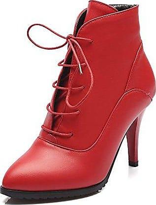 AllhqFashion Damen Stiletto Mattglasbirne Reißverschluss Knöchel Hohe Nubukleder Stiefel, Rot, 39