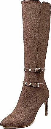 AgooLar Damen Stiletto Rein Spitz Zehe Mattglasbirne Reißverschluss Stiefel mit Nietbolzen, Weinrot, 39
