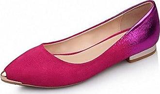 AgooLar Damen Niedriger Absatz Gemischte Farbe Ziehen auf Spitz Zehe Pumps Schuhe, Rosa, 40
