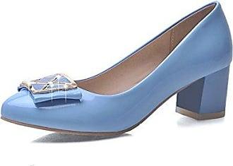 Damen Ziehen auf Rund Zehe Mittler Absatz PU Rein Pumps Schuhe, Blau, 35 VogueZone009