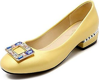 AgooLar Damen Ziehen auf PU Quadratisch Zehe Niedriger Absatz Rein Pumps Schuhe, Grau, 32