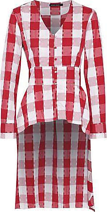 W118 By Walter Baker Woman Asymmetric Tie-front Checked Cotton Top Red Size S W118 by Walter Baker Clearance Wide Range Of Free Shipping Extremely For Sale Cheap Online Clearance Collections AUJVQ