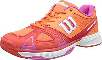 Wilson Femme Chaussures de Tennis, Idéal pour Les joueuses de Tous Niveaux, pour Tout Type de Terrain, Rush Evo Carpet, Tissu Synthétique, Blanc (White/White/Cashemere Blue), Taille: 40 1/3