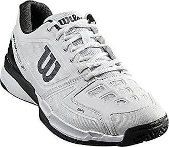 Wilson Femme Chaussures de Tennis, Convient aux Joueurs de Tout Niveau, pour Tout Type de Terrain, Rush COMP W, Tissu Synthétique, Violet/Corail (Pastel Lilac/Fiery Coral/White), Taille: 39
