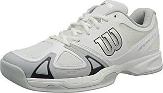 Wilson Rush Evo Carpet W, Zapatillas de Tenis Mujer, Todos los Niveles y terrenos, Tejido/sintético, Blanco (White/White/Cashemere Blue), Talla: 42 2/3