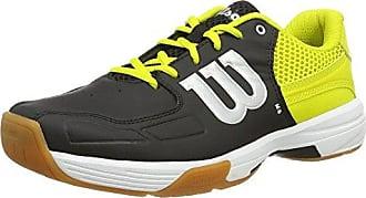 Unisexe Chaussures de Badminton, Idéal pour Les Joueurs de Tous Niveaux, pour Les Terrains intérieurs, Recon, Tissu Synthétique, Noir/Jaune (Black/Sulphur Spring/White), Taille: 37Wilson