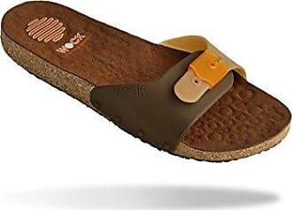 Sanus Comfort Sandale - WOCK Arbeitsschuhe - rutschhemmend, verstellbarer Riemen, Microfaser; Kork - Braun/Camel - EUR 41 Wock