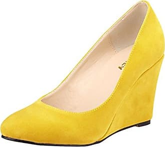Xianshu Women Point Toe Shallow Mouth Shoes Wedge Heel Single Shoes Solid Color Pumps(Yellow-36 EU) IOh6ql21Of