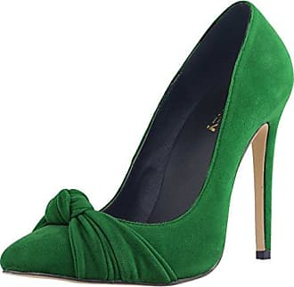 Xianshu Pointed Toe Transparent Glue Stitching High Heel Shoes Shallow Mouth Stiletto Pumps (Green-42 EU) oCfgI