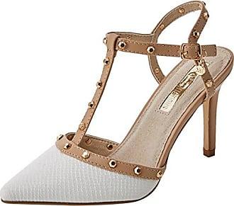 30689, Zapatos con Tacon y Tira Vertical para Mujer, Blanco (White), 40 EU Xti