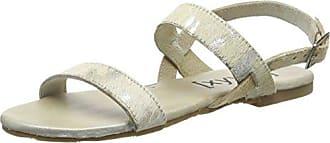 Sandal - Sandalias de Tobillo Mujer, Plateado - Silber (Silver/Beige), EU 38 Xyxyx