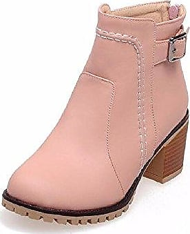 HooH Damen Stiefeletten Matt PU Reißverschluss High Heel Platform Stiefel Beige 39 EU SLA0DLfk5