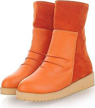 KAFEI Frauen Schuhe in einem runden Kopf der Frauen erhöhte Flachbild mit täglichen Zauber, orange, 35 farbige YDA