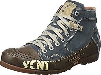 Chaussures De Sport Jaune Cabine Haute Tachetés Noir / Blanc fE2clisx