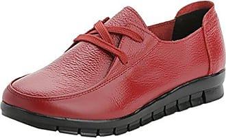 Frauen Schnürsenkel Freizeit Schuhe Büro Arbeit Schule Casual Mokassin Pumps Flache Schuhe Rot (38) Yiiquan k5l8bT