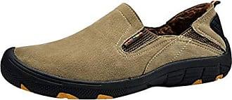 Yiiquan Herren Leichtgewicht Low-Top Schuhe PU Leder Slip On Freizeit Wärme Loafers Sport Schuhe Grau 38 tPX7q4L