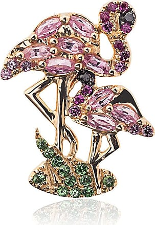 18k gold flamingo earring with gems Yvonne L KJUy4